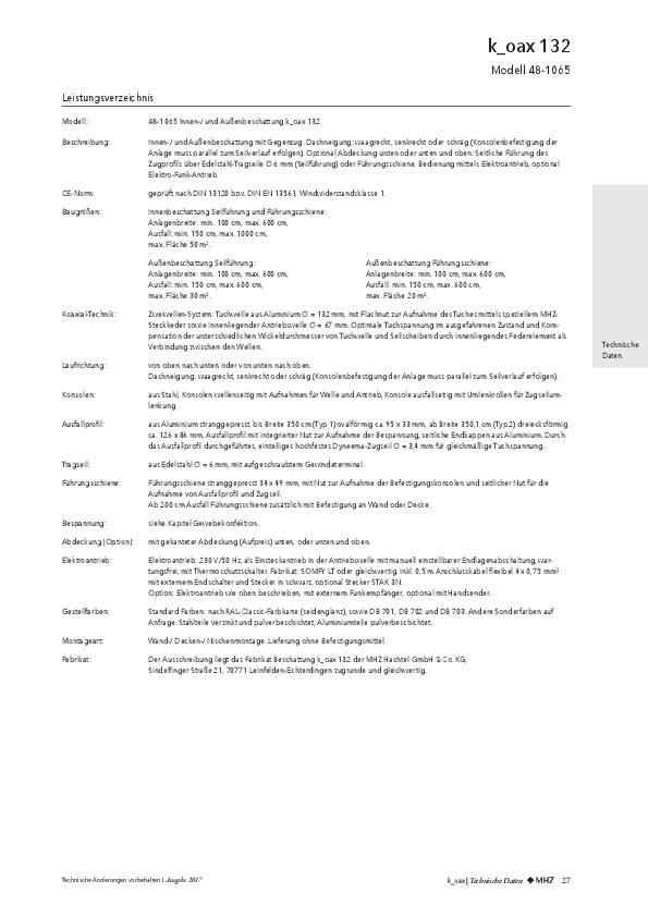 Leistungsverzeichnis Beschattungen k_oax 132