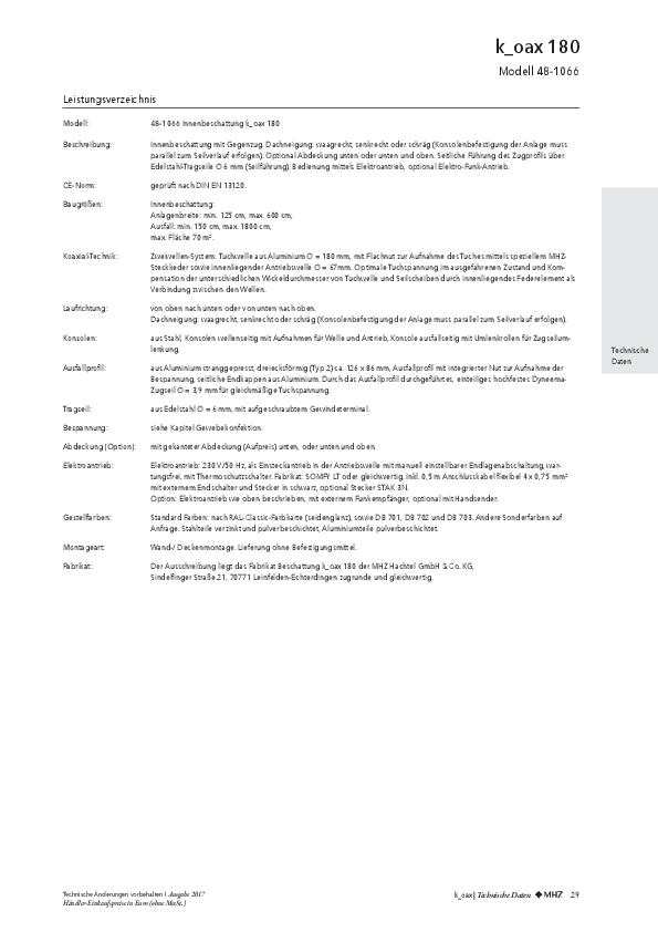 Leistungsverzeichnis Beschattungen k_oax 180