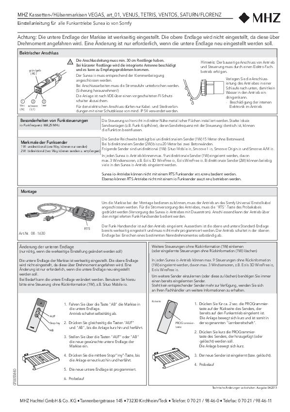 Einstellanleitung für alle Funkantriebe Sunea io von Somfy Gelenkarmmarkisen