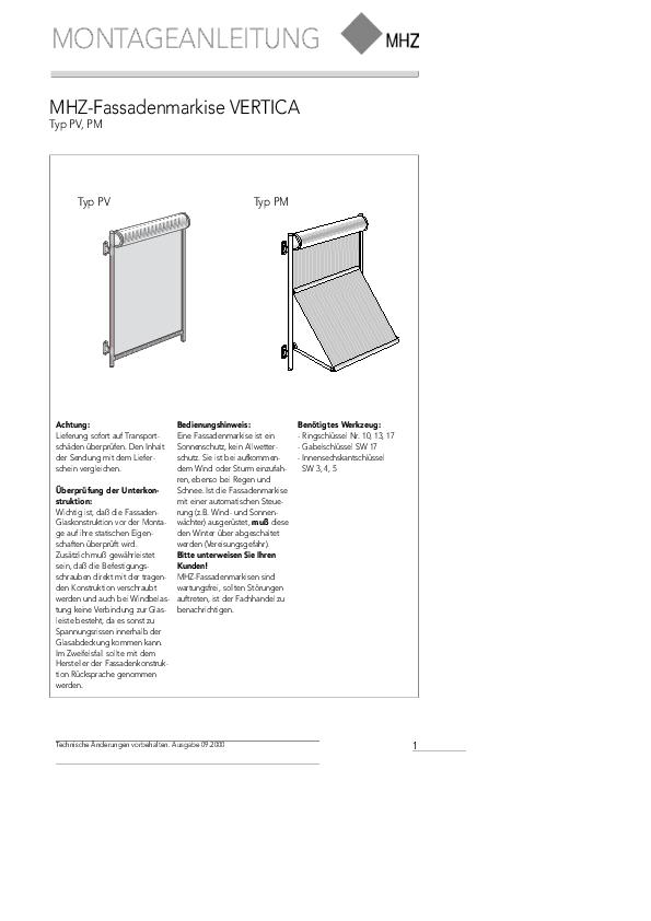 Montageanleitung Profilrohr-Fassadenmarkisen VERTICA