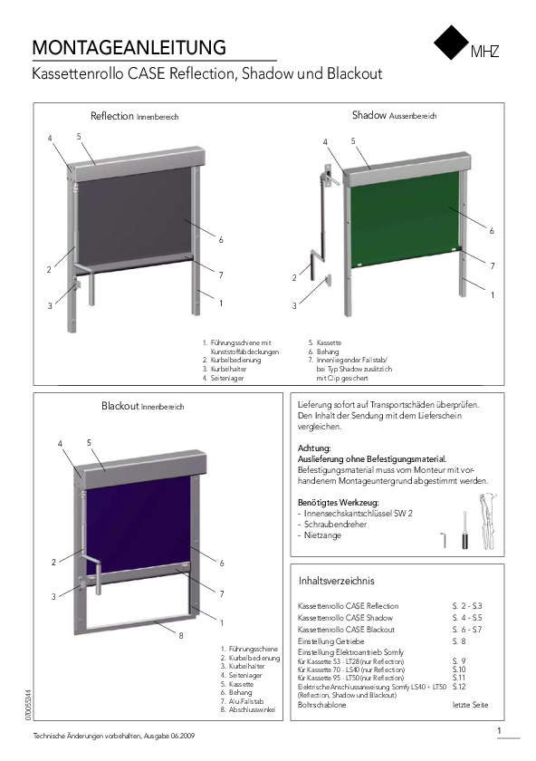 Montageanleitung Kassettenrollo CASE