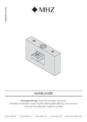 Installation instructions Level recess bracket