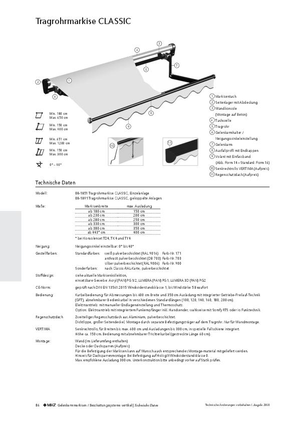 Technische Informationen Tragrohrmarkise CLASSIC