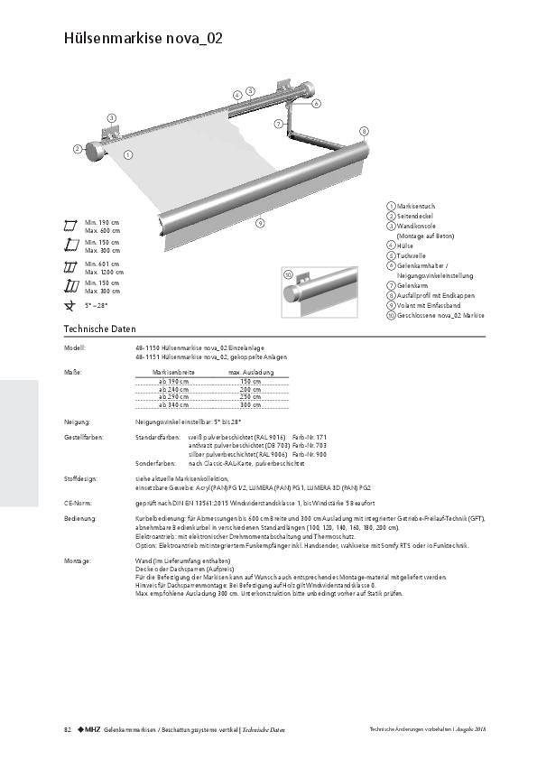 Technische Informationen Hülsenmarkise nova_02