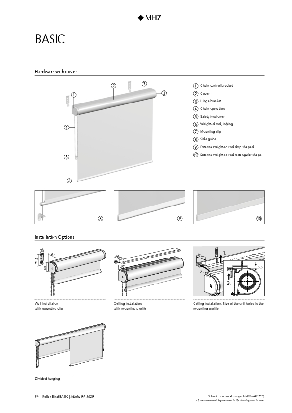 Technical information roller blind BASIC with cover