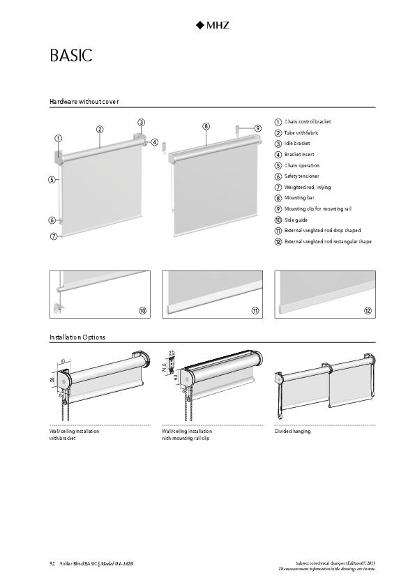 Technical information roller blind BASIC