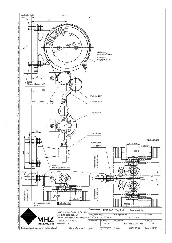 Technische Zeichnung pdf Edelstahl-Fassadenmarkisen TECHNO EM gekoppelt
