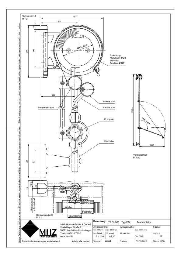 Technische Zeichnung pdf Edelstahl-Fassadenmarkisen TECHNO EM Wand