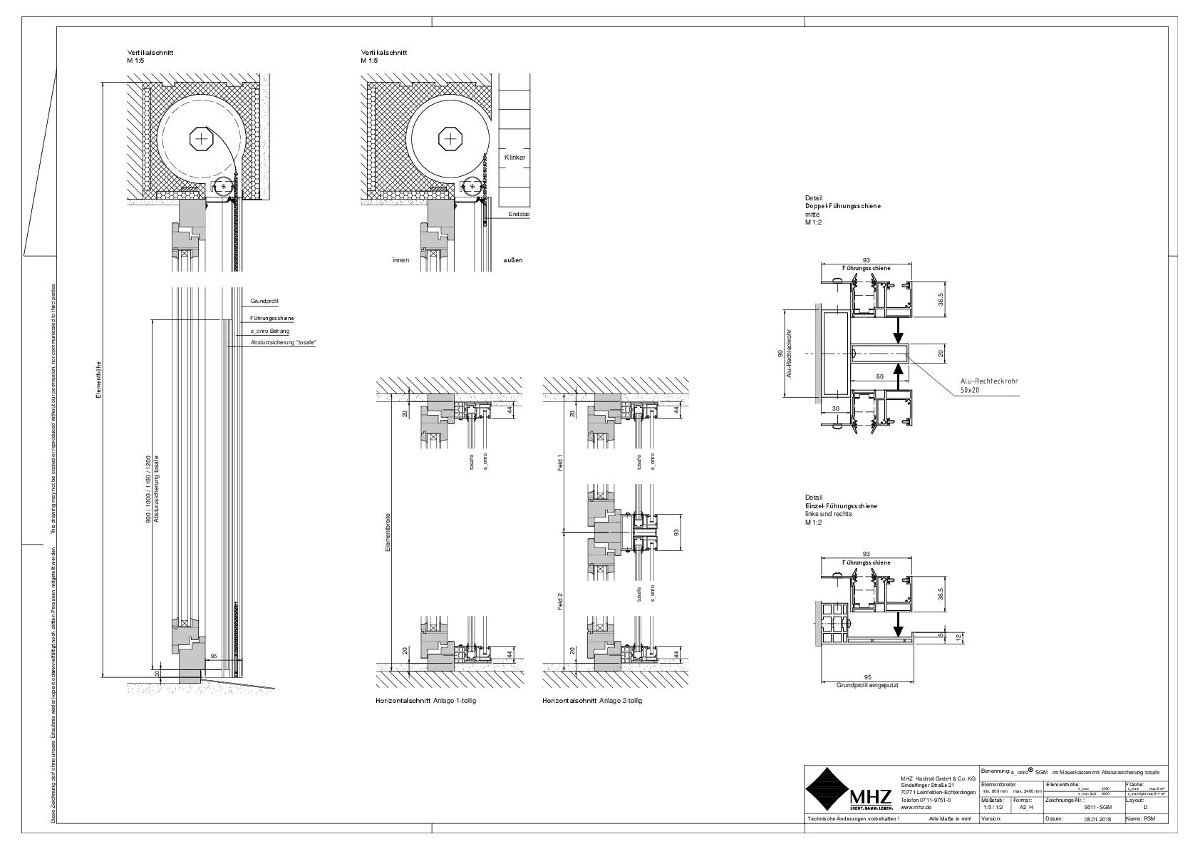 Technische Zeichnung pdf Metallbehang s_onro Aufsatz SGM tosafe