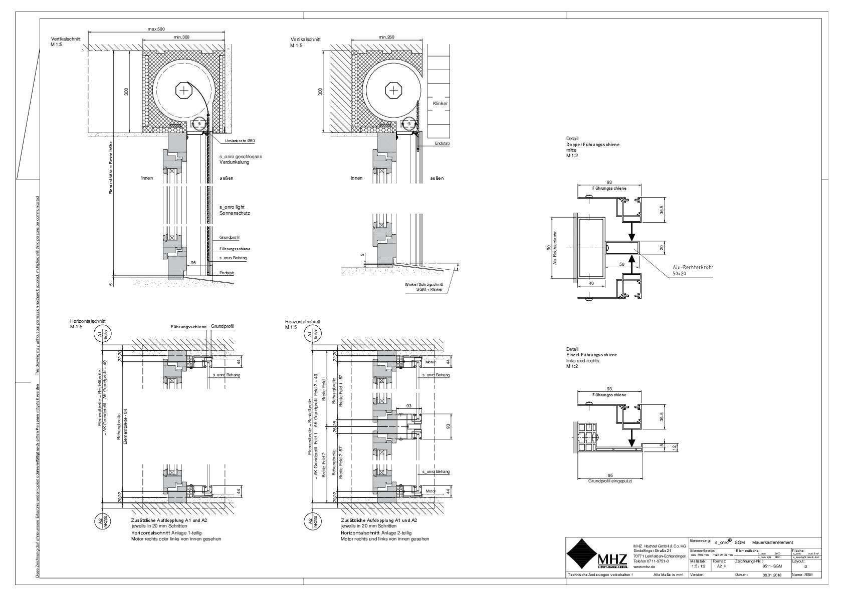 Technische Zeichnung pdf Metallbehang s_onro Aufsatz SGM