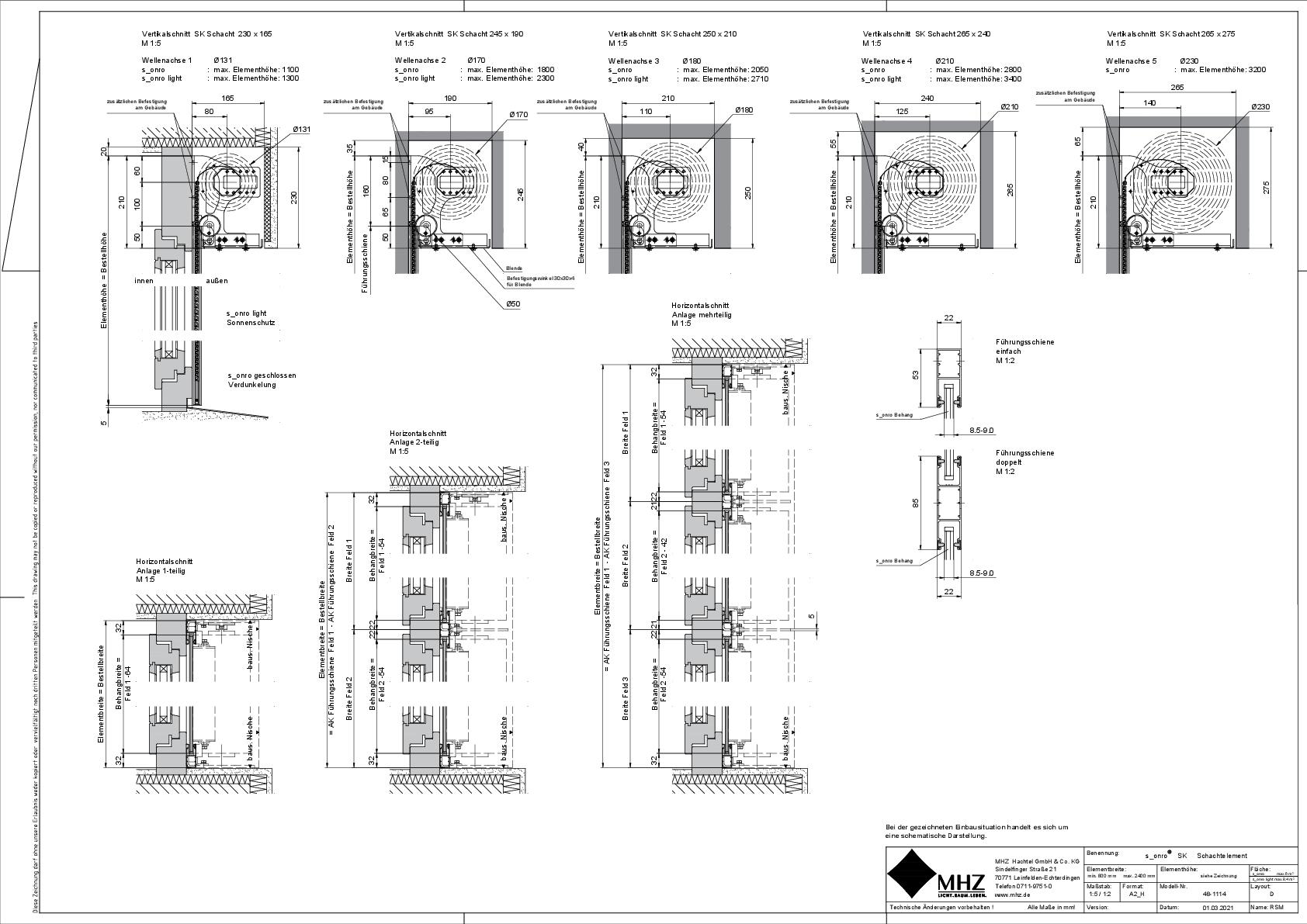 Technische Zeichnung pdf Metallbehang s_onro Schacht SK