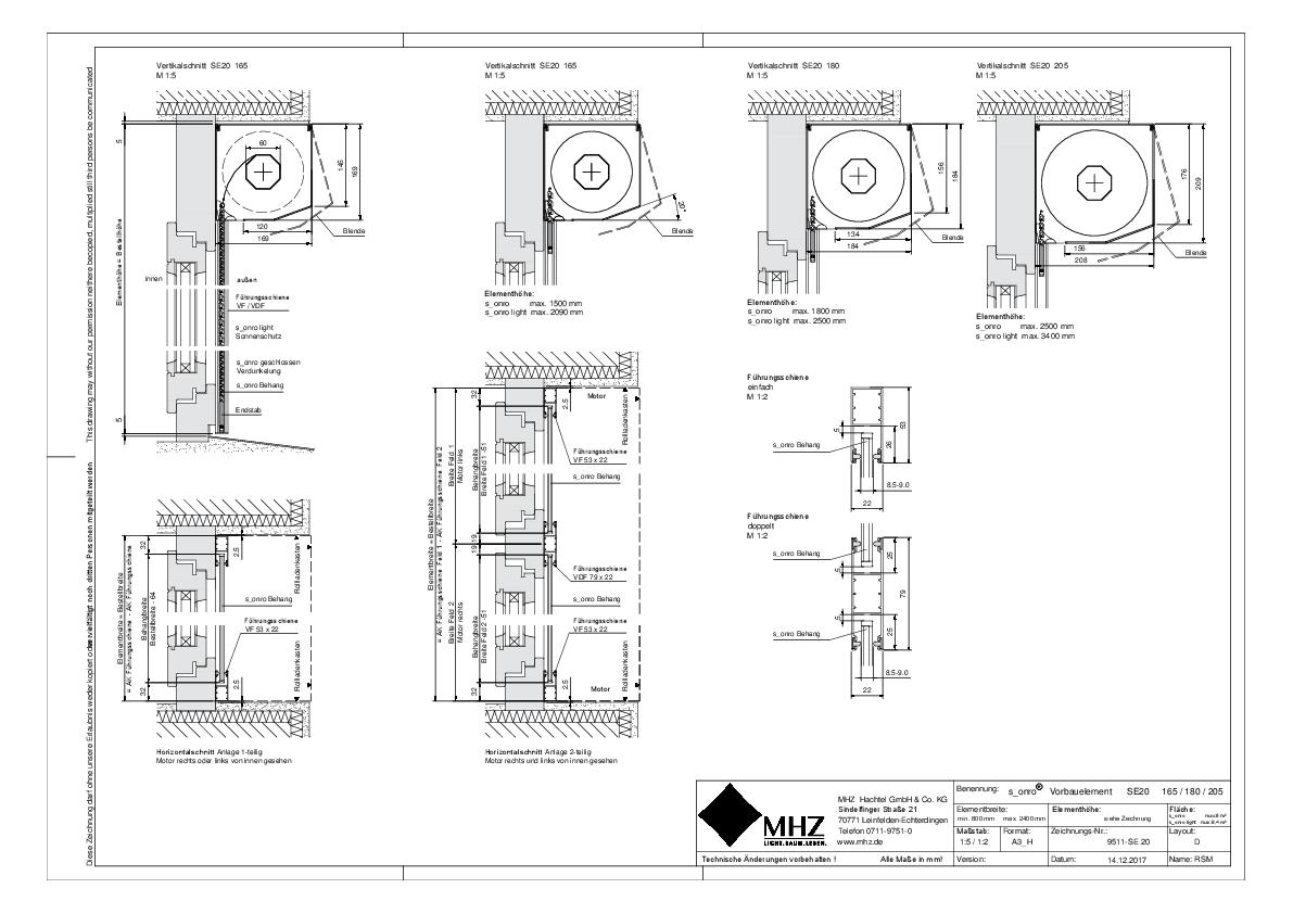 Technische Zeichnung pdf Metallbehang s_onro Vorbau SE20