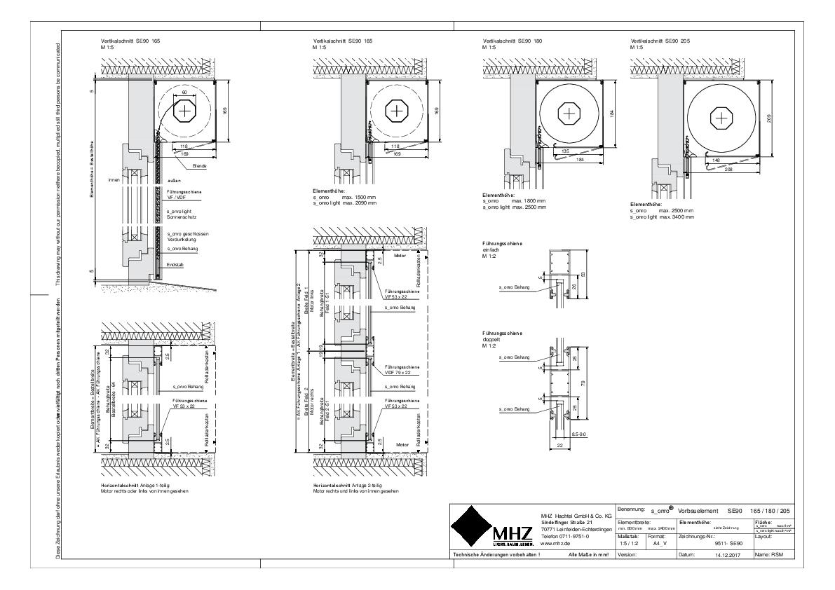 Technische Zeichnung pdf Metallbehang s_onro Vorbau SE90