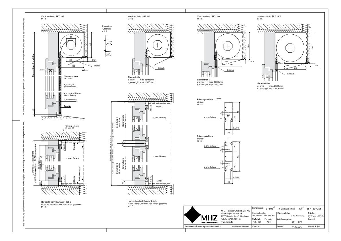 Technische Zeichnung pdf Metallbehang s_onro Vorbau SPT