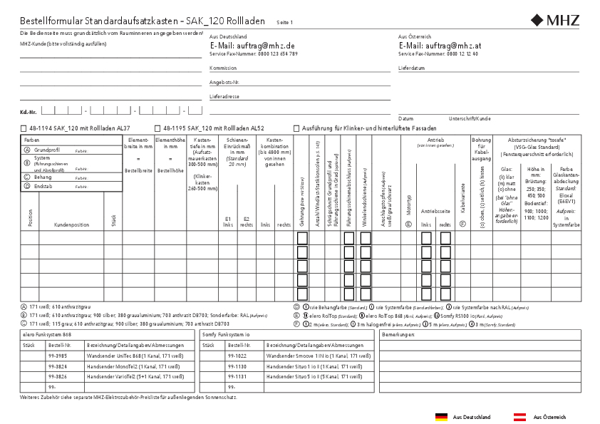 Bestellformular Aufsatzkasten SAK_120 Rollladen