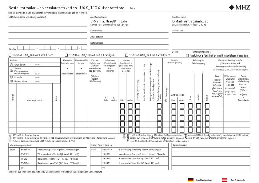 Bestellformular Aufsatzkasten UAK_120 Außenraffstore