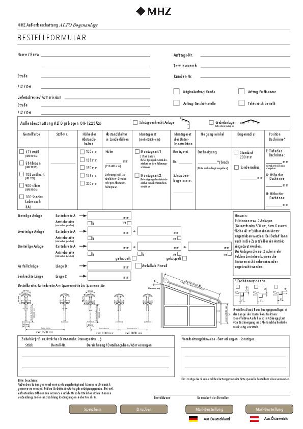 Bestellformular Außenbeschattung ALTO Bogenanlage