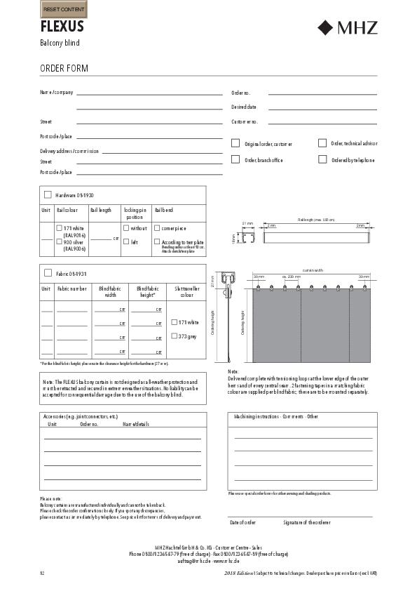 Order form balcony curtain FLEXUS