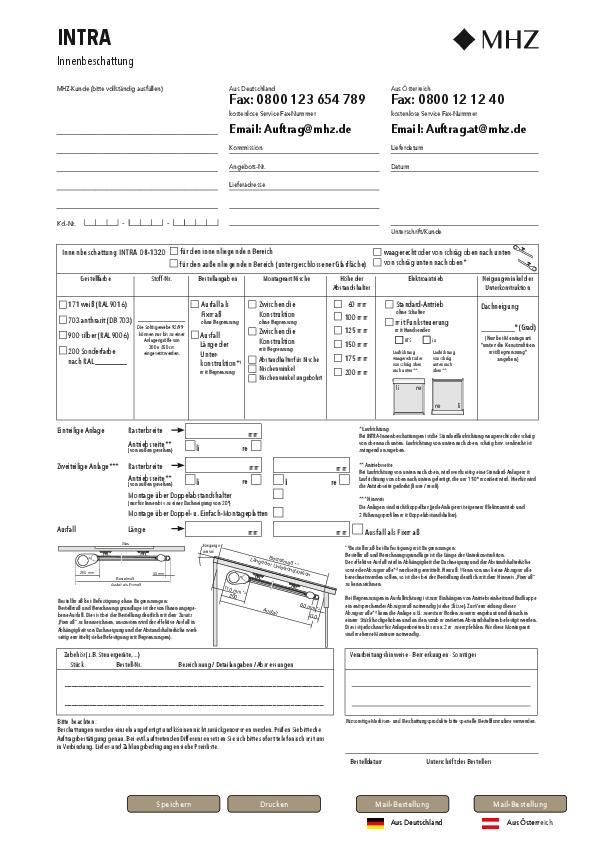 Bestellformular Innenbeschattung INTRA