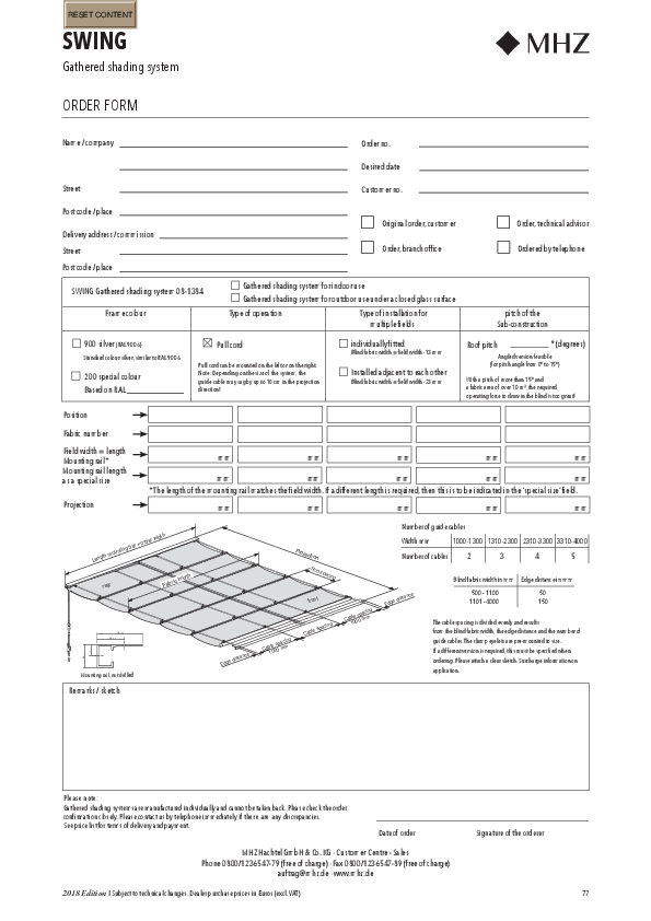 Order form gathered shading system SWING