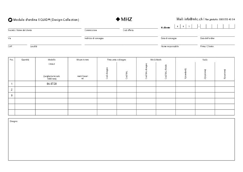 Modulo d'ordine tessuto adesivo SQUID (Design-Collection)