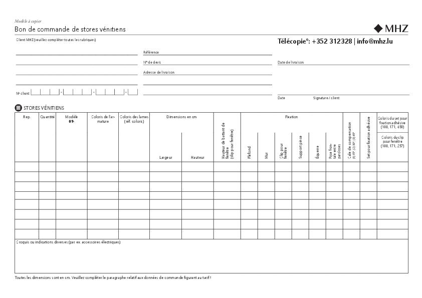 Bon de commande stores vénitiens TwinLine 09-8080, 09-8180
