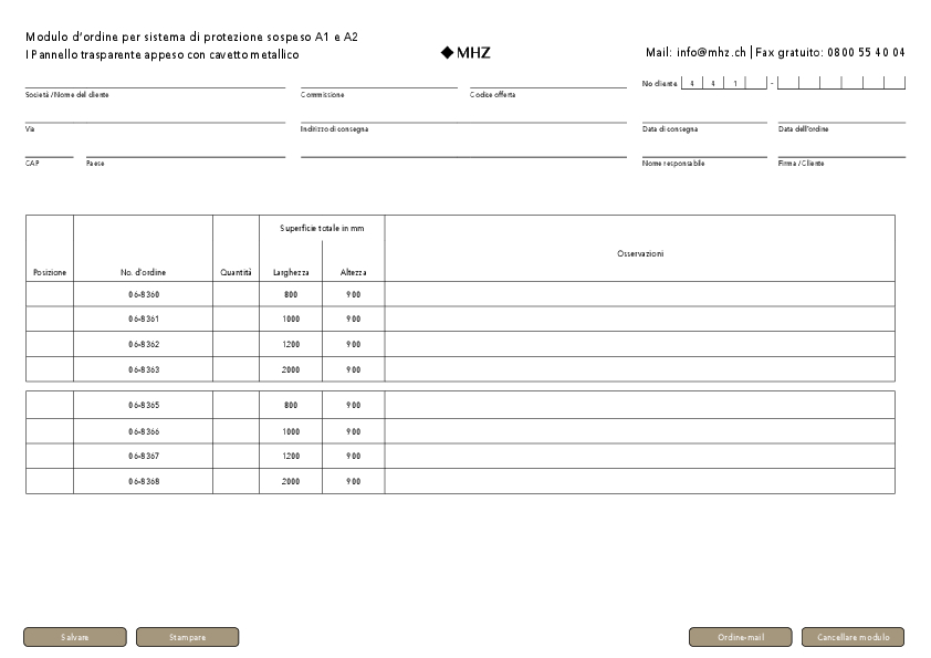 Modulo d'ordine sistema di protezione sospeso A1 e A2