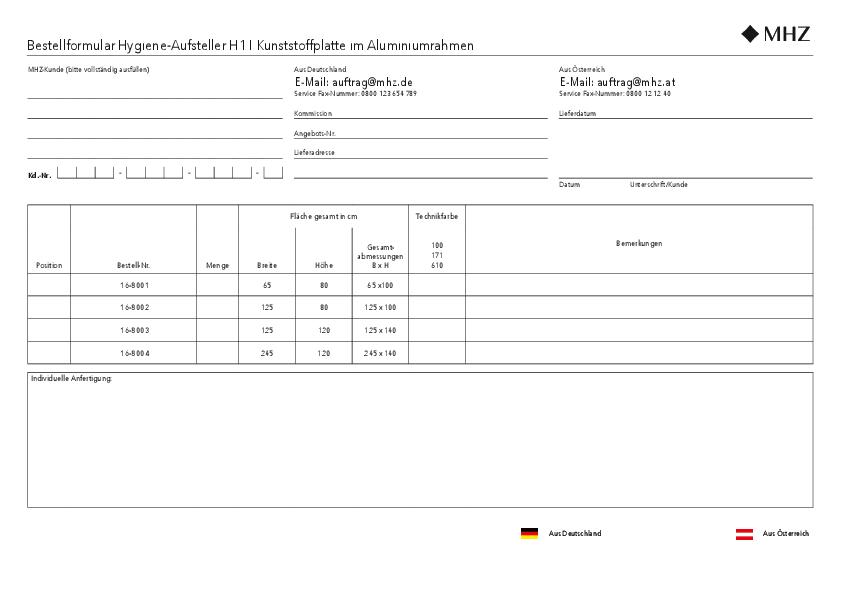 Bestellformular Hygiene-Aufsteller H1