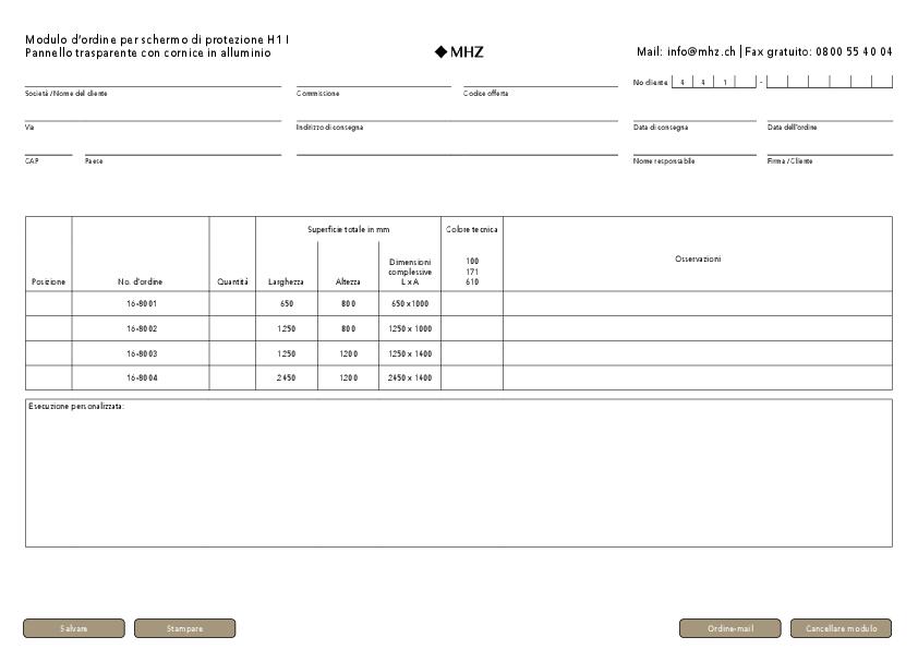 Modulo d'ordine schermo di protezione H1