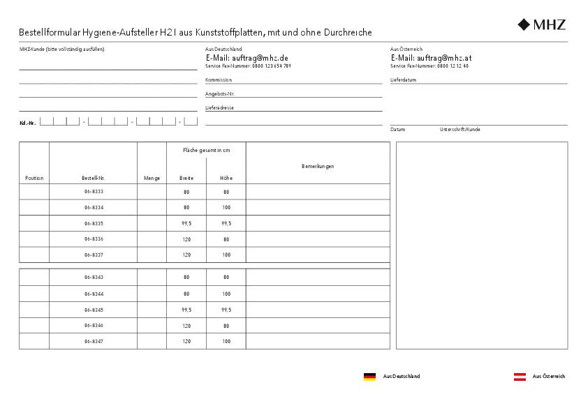 Bestellformular Hygiene-Aufsteller H2
