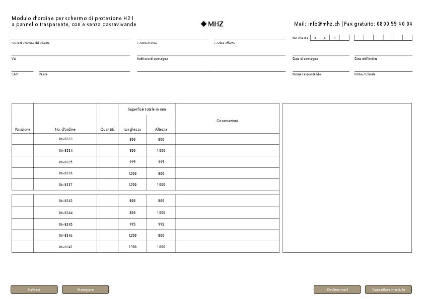 Modulo d'ordine schermo di protezione H2