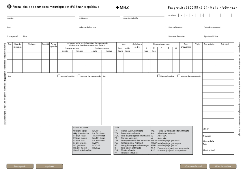 Formulaire de commande moustiquaires (Neher d'éléments spéciaux)