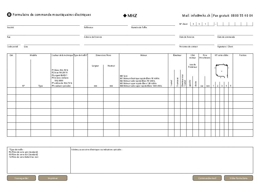 Formulaire de commande moustiquaires électriques (Suisse)