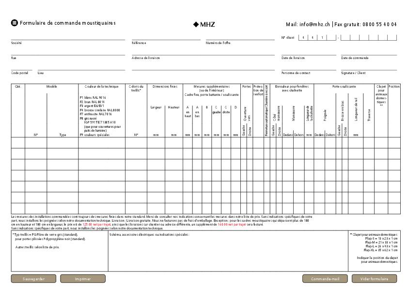Formulaire de commande moustiquaires (Suisse)