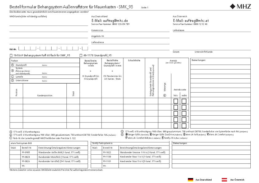 Bestellformular Behangsystem Außenraffstore für Mauerkasten SMK_95