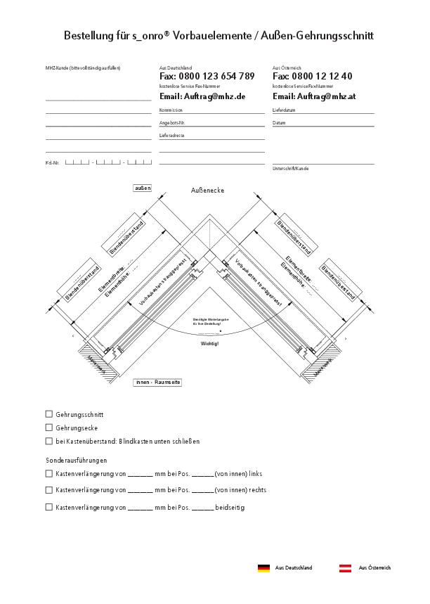 Bestellformular Metallbehang s_onro Vorbau Außen-Gehrungsschnitt