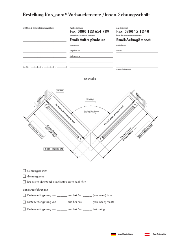 Bestellformular Metallbehang s_onro Vorbau Innen-Gehrungsschnitt