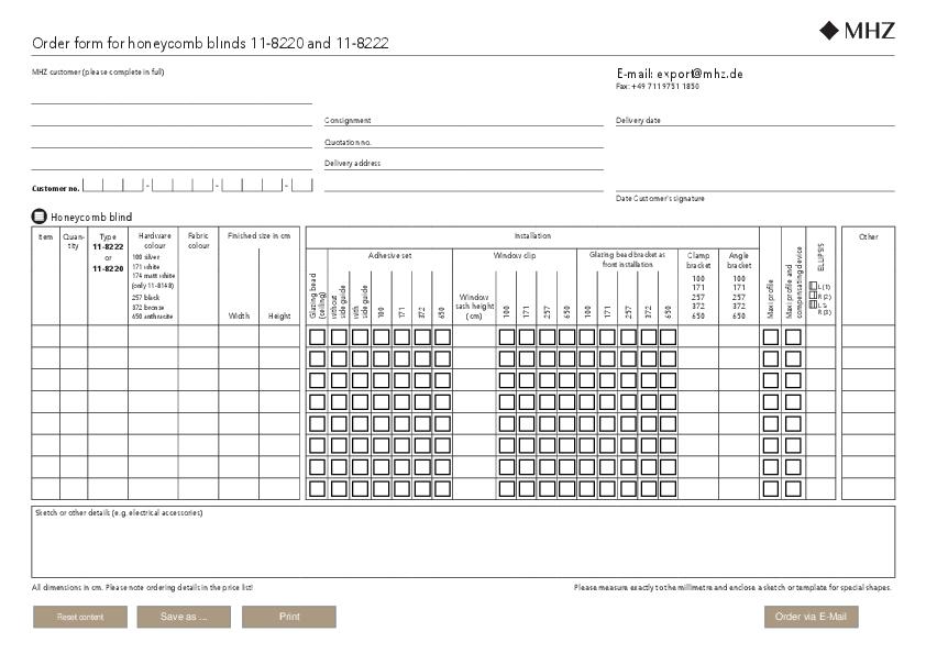 Order form honeycomb blinds 11-8220, 8222