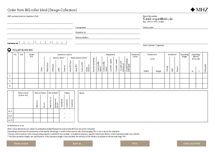 Order form roller blind BIG (Design-Collection)