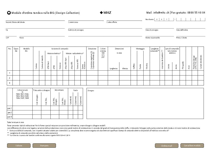 Modulo d'ordine tenda a rullo BIG (Design-Collection)