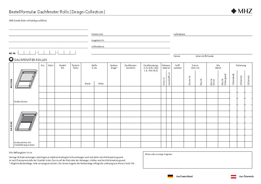 Bestellformular Rollo Dachfenster (Design-Collection)