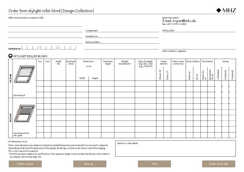 Order form skylight roller blind (Design-Collection)