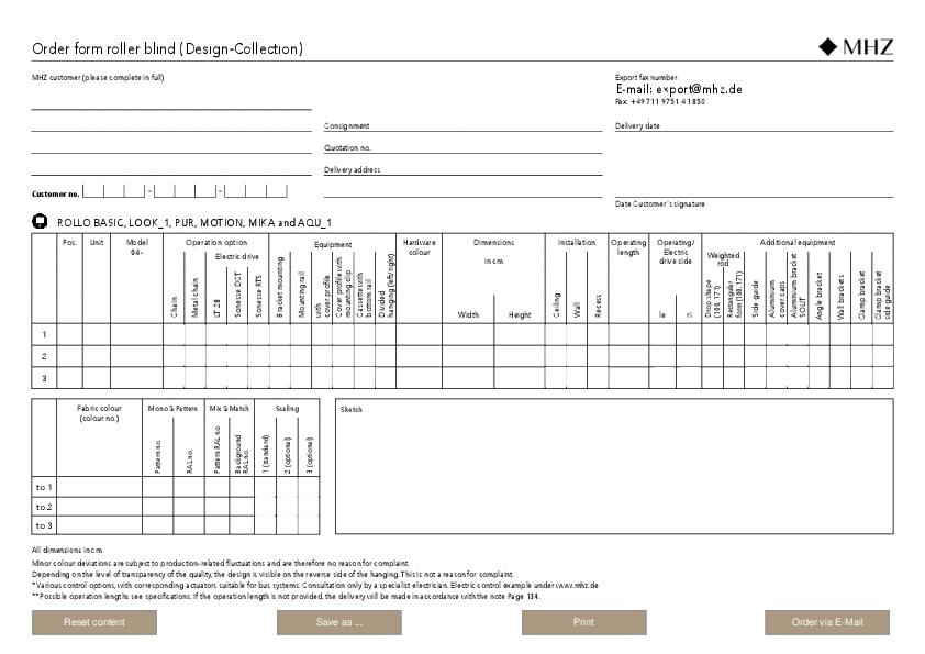 Order form roller blind (Design-Collection)