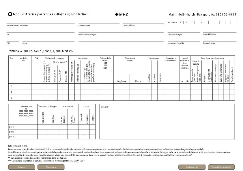 Modulo d'ordine tenda a rullo (Design-Collection)