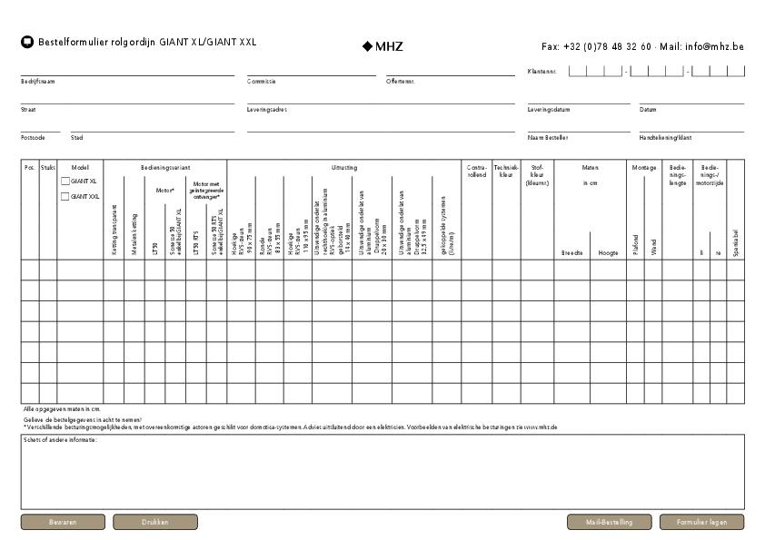 Bestelformulier Rolgordijn GIANT XL/XXL