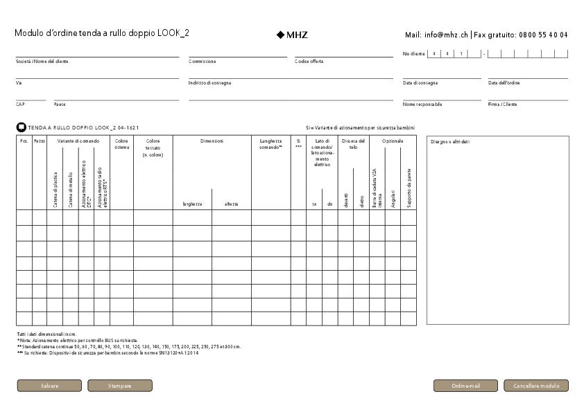 Modulo d'ordine tenda a rullo doppio LOOK_2
