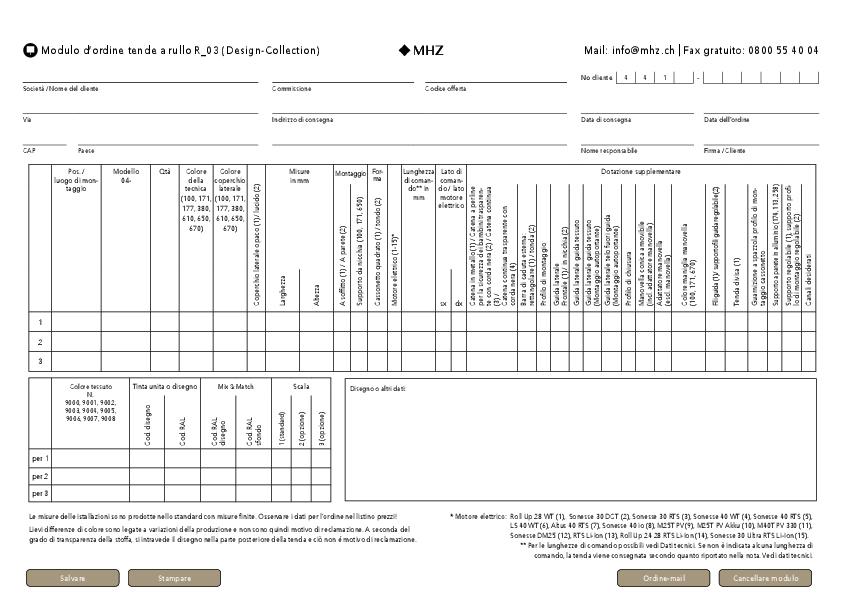 Modulo d'ordine tenda a rullo R_03 (Design-Collection)