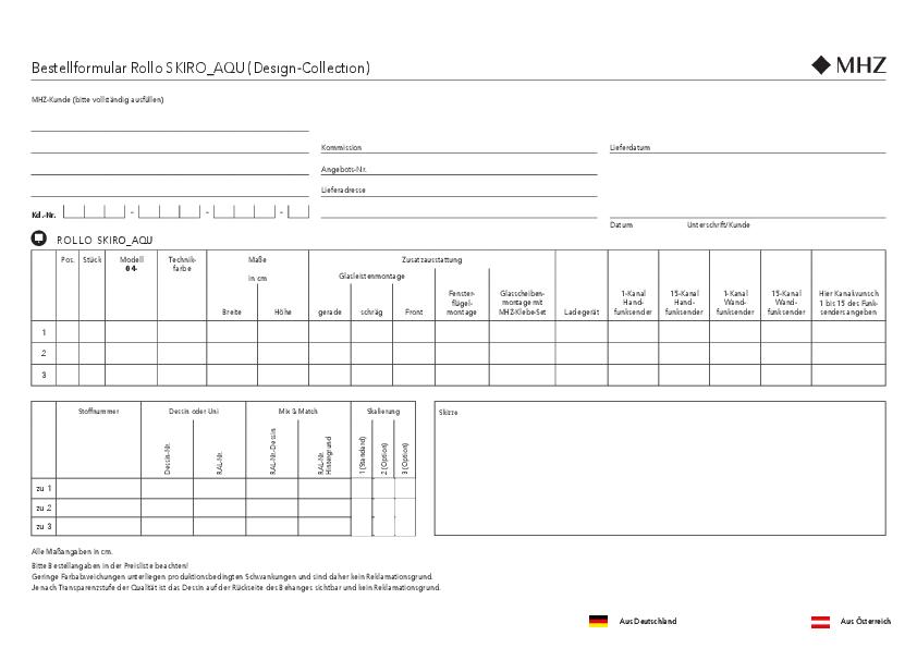Bestellformular Rollo SKIRO_AQU (Design-Collection)