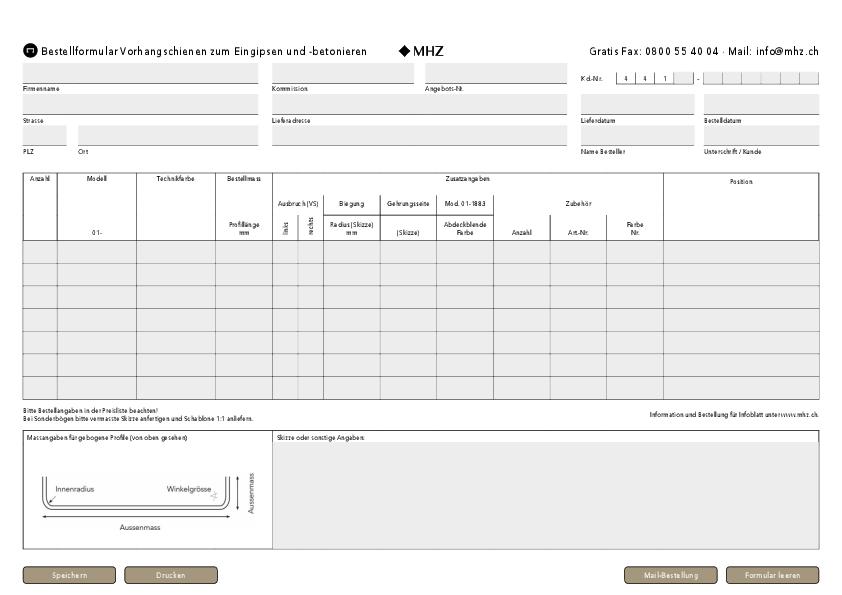 Bestellformular Einbau-Vorhangprofile