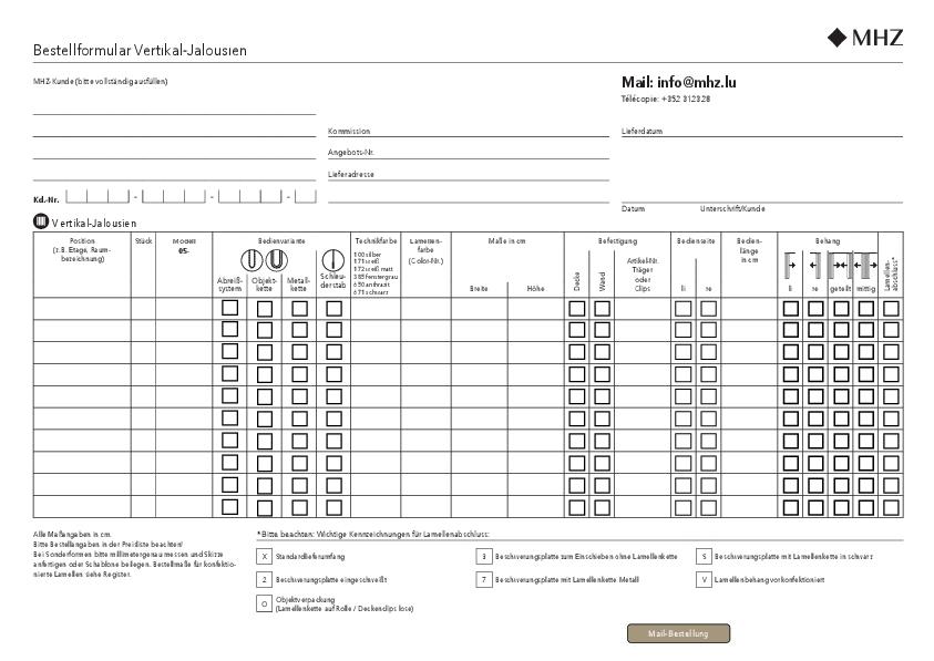 Bestellformular Vertikal-Jalousien